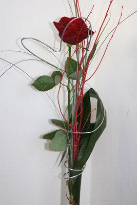 Geurende rode roos met hoge vaas