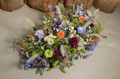 Afscheidsbloemen paars & oranje